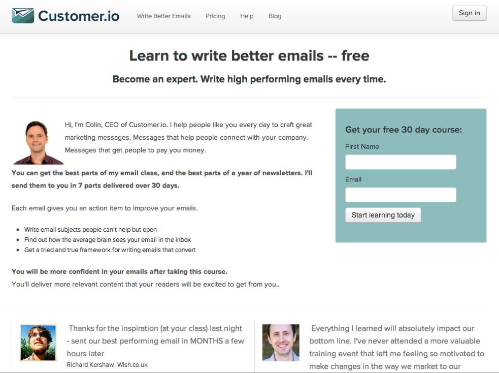 How you can make landing pages and welcome emails for email courses