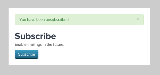 Unsubscribe Confirmation Page